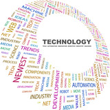 TECHNOLOGY. Word collage on white background.