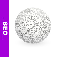 SEO. Wordcloud vector illustration.