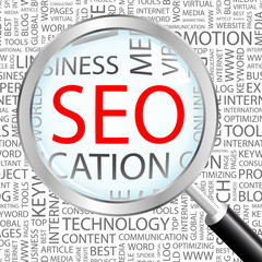 SEO. Magnifying glass over background with association terms