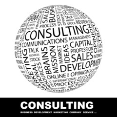 CONSULTING. Globe with different association terms.