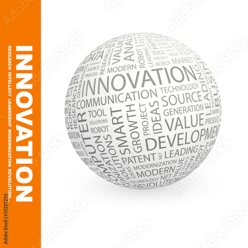 INNOVATION. Globe with association terms.
