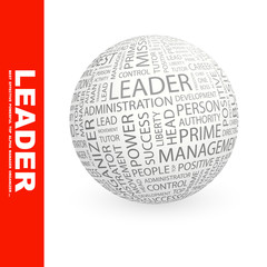 LEADER. Vector word cloud illustration.