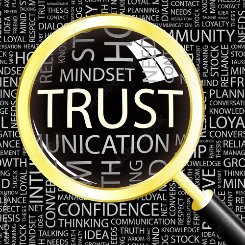 TRUST. Magnifying glass over different association terms.