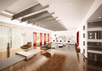 Modern apartment interior 3d render