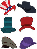 complete set of hats, headdresses poster