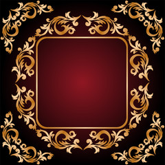 vintage frame from the golden ornament on dark red background