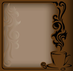 antique frame with a stylized  a cup of coffee and coffee beans
