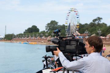 Operator of a television camera. Vladivostok. Russia.