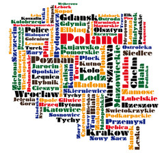 abstract word cloud map of poland