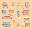 Stickers with furniture images