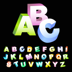 ABC. Colored 3d alphabet.