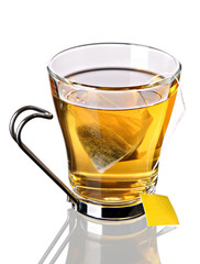 Cup of tea with teabag (concept, clipping path)