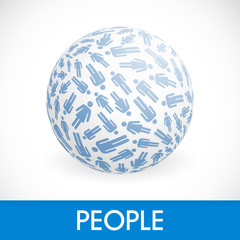 Globe with people signs. Vector illustration.
