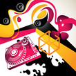 Artistic urban party background with abstraction.