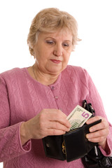 The elderly woman with a purse