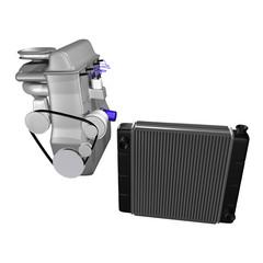 auto radiator with engine