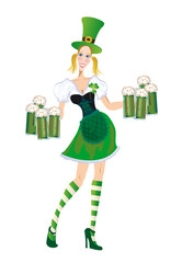 Merry waitress with glasses of green beer