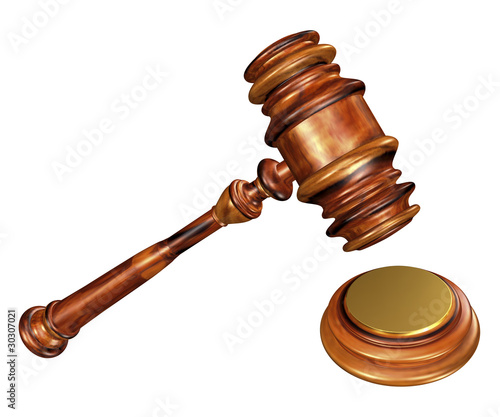 Gavel and soundblock with path on white background.