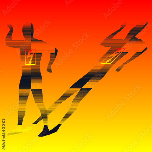 man body with lightning sign silhouette vector