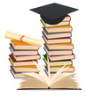 Stack of colorful books and graduation cap . Vector