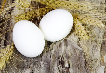 White Easter Eggs and Wheat on Wood