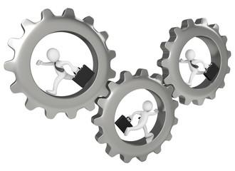 3 Businessman running inside big gears