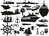 sailing objects icon set poster