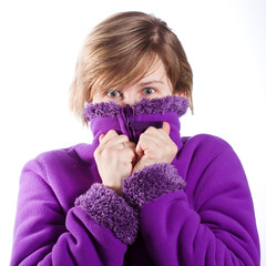 young woman in a warm violet sweater
