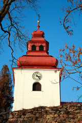 Catholic church with steeple clock