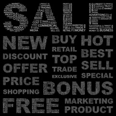 SALE. Vector word collection. Wordcloud illustration.