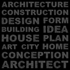 ARCHITECTURE. Vector word collection. Wordcloud illustration.