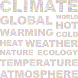 CLIMATE. Vector illustration with association terms. poster