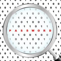 PASSWORD. Magnifying glass over background with binare code.