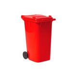 red empty recycling bin