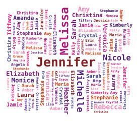Nuage de Mots Prénoms Féminins en Anglais