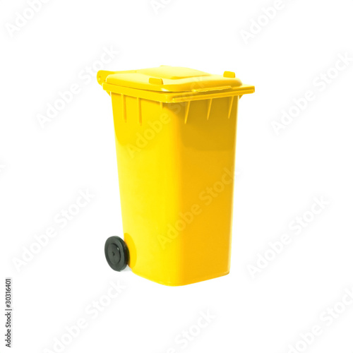 yellow empty recycling bin