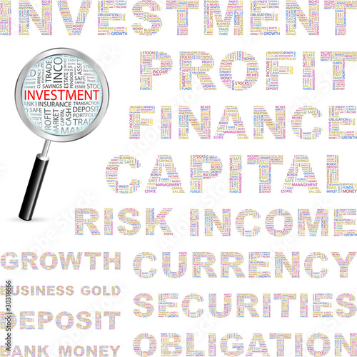 INVESTMENT. Vector illustration with association terms.