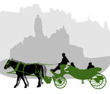 Silhouette of a carriage in Old Town Square in Prague