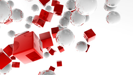White balls and red cubes flying in the white space © CabbageTree