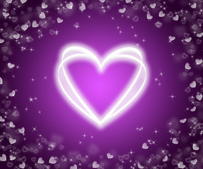 Lilac background with hearts.