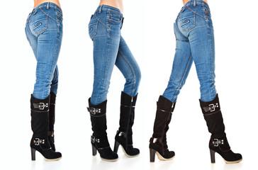 female legs in blue jeans