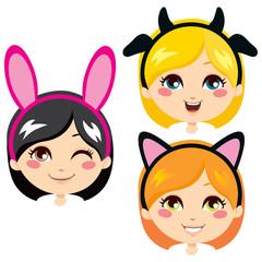 Sweet girls wearing animal costume headbands for carnival