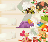 Toys, candy & childhood memories - horizontal banners poster
