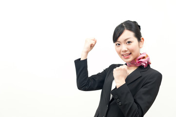 a portrait of beautiful business woman cheering