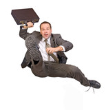 hurdle race businessman with briefcase.... poster
