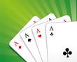 Spielkarten herz, karo, pik, kreuz As grün strahlen