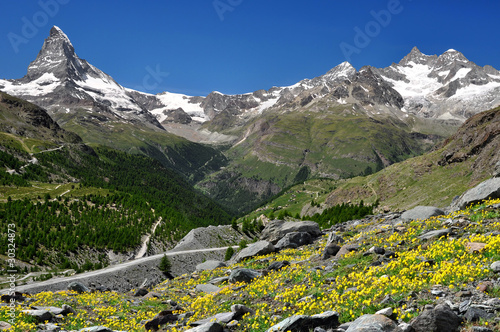 views of the Matterhorn and Ober Gabelhorn - Swiss Alps