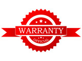 Vector red  warranty label poster