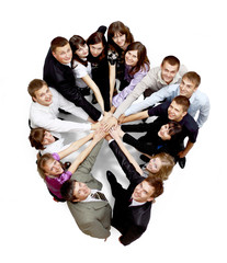 Top view of business people with their hands together i