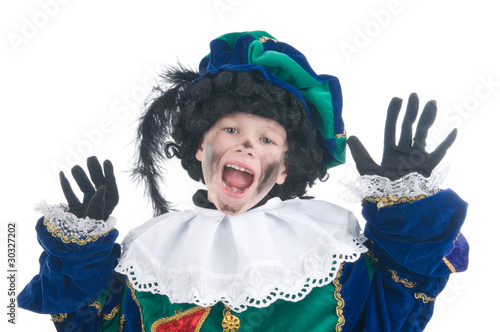 Child playing Zwarte Piet or Black Pete
